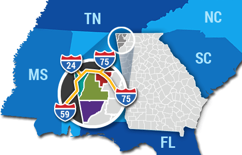 Map of northwest corner of Georgia showing access to Atlanta Nashville and Knoxville using i-75 , i-59 , i-24 and US highway 27