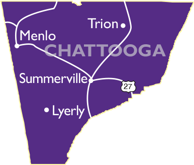 Chattooga County Map showing Menlo, Trion, Sunmmerville, and Lyerly