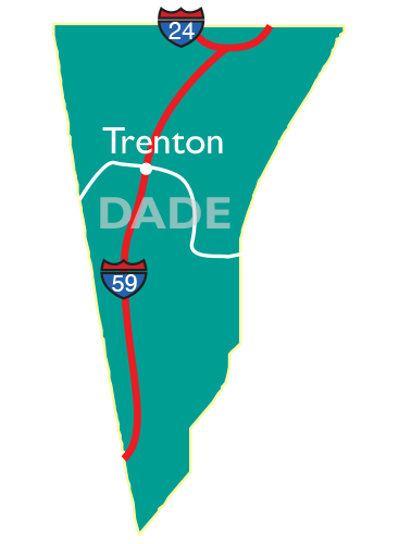 Dade County map showing Trenton, and access to I-24 and I-59