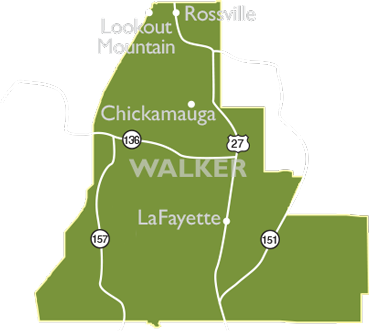 Walker County map showing access to US Highway 27, Lookout Mountain and Chickamauga